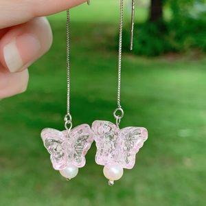 Handmade Glow in Dark Butterfly Threader Earrings